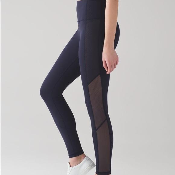 6a2f14631 lululemon athletica Pants - Lululemon midnight navy high rise mesh leggings
